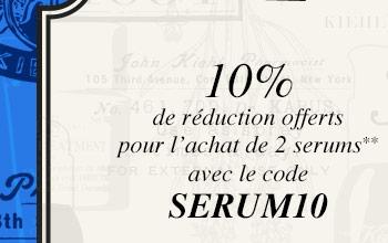10% de réduction offerts pour l'achat de 2 serums** avec le code SERUM10