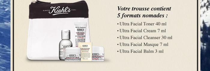 Votre trousse contient 5 formats nomades : • Ultra Facial Toner 40 ml - • Ultra Facial Cream 7 ml - • Ultra Facial Cleanser 30 ml - • Ultra Facial Masque 7 ml - • Ultra Facial Balm 3 ml