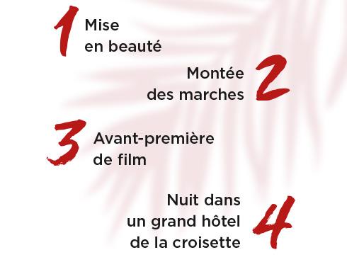 1 Mise en beauté - 2 Montée des marches - 3 Avant-première de film - 4 Nuit dans un grand hôtel de la croisette